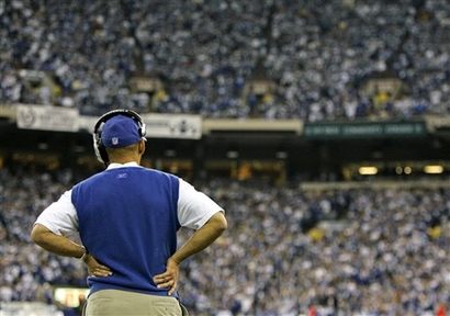 Indianapolis Colts head coach Tony Dungy watches from the sidelines during the Colts' 28-24 loss to the San Diego Chargers Sunday afternoon.